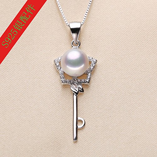 My DIY ended accessories 925 silver pearl necklace pendant Micro Pave key necklace pendant handmade jewelry mountings (Micro Pave Mounting)