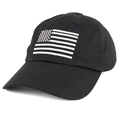 Armycrew Low Profile Soft Crown Tactical Operator Cap With American  Embroidered Flag - Black fe0091000e0