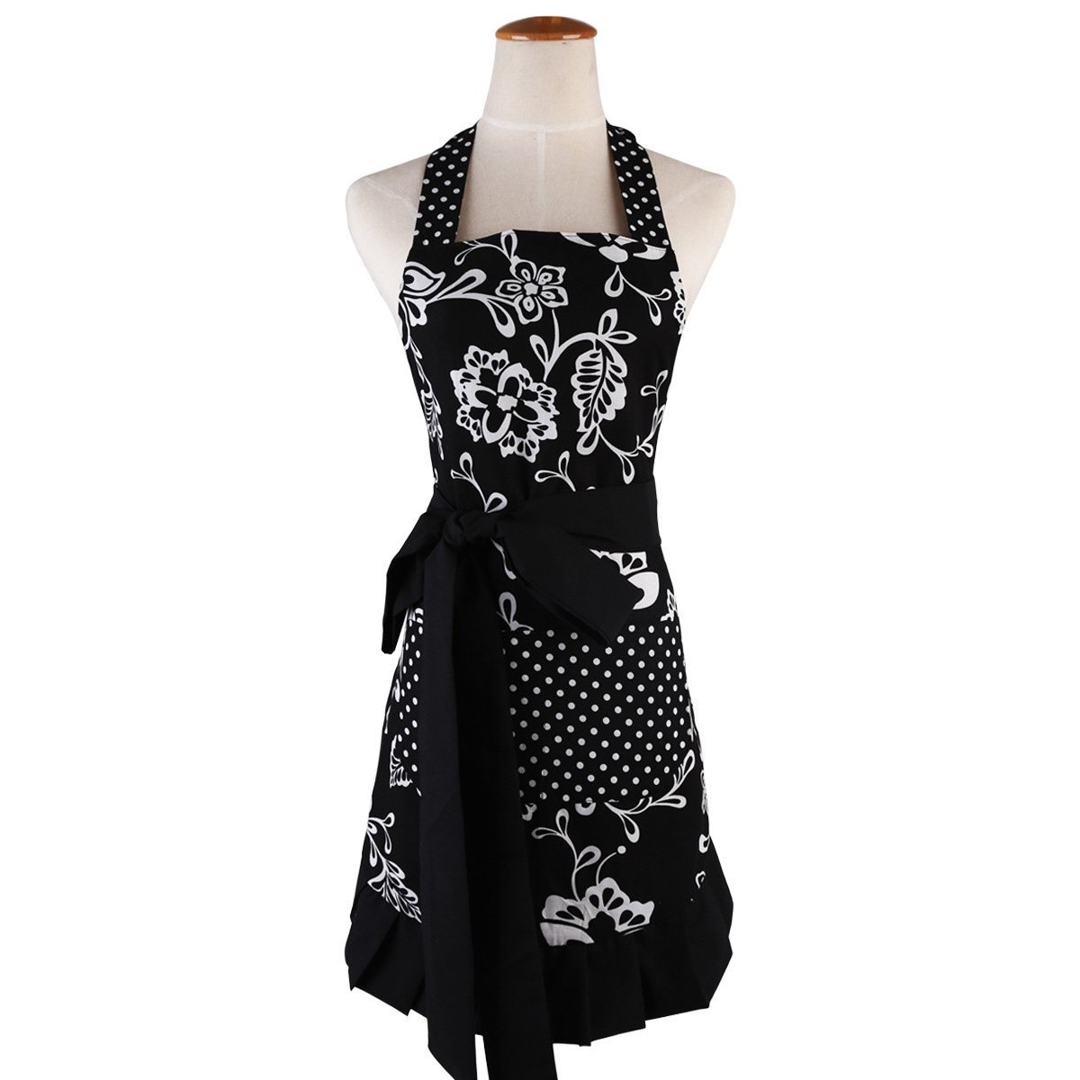 Black Aprons for Women with Pockets,Extra-Long Tie,Home Baking Gardening or Kitchen Cooking Bib,Graceful and Flirty Retro Cute Cotton Plus Size Apron 29 x 21Inch JIURUN