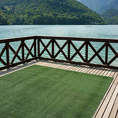 Indoor/Outdoor Turf  Rugs and Runners in Green 12' X 9' Low Pile Artificial Grass in Many Custom Sizes and Widths with Finished Edges with Binding Tape ()