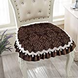 Jacquard Velvet Lace Dining Seat Cushion Cover Thick Chair Pad with Corner Ties 17.7X17.7-inch (type-5)