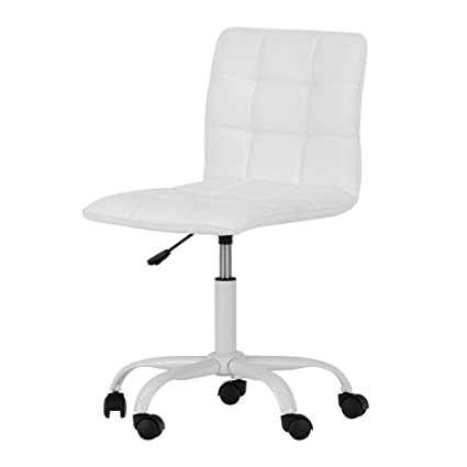 706eed6ccac Amazon.com  Annexe White Office Chair with Quilted Seat - Ergonomic  Executive Office Chair - Mid Back Chair for Home Office by South Shore   Kitchen   Dining