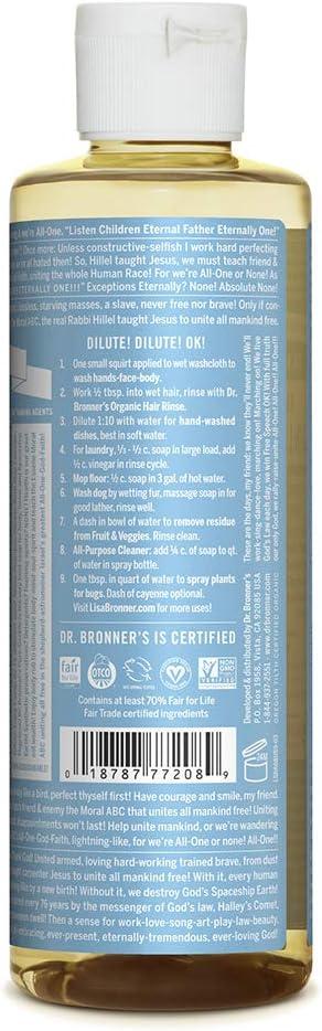 Jabón de castilla Dr. Bronner. Jabón de castilla con ingredientes orgánicos, 236 ml: Amazon.es: Belleza