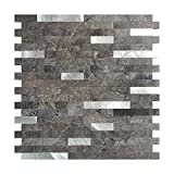 Art3d 12''x12'' Peel and Stick Backsplash Tile for Kitchen, Faux Stone Backsplash (5 Tiles)