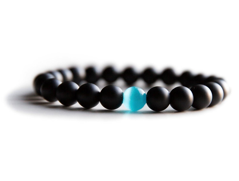 Bracelet for Men: Mens Bracelet Bead Bracelet Semi-Precious Natural Stones Black Onyx or Hematite Blue Handmade Bracelets (8mm) Benevolence LA 8 inch) h401003