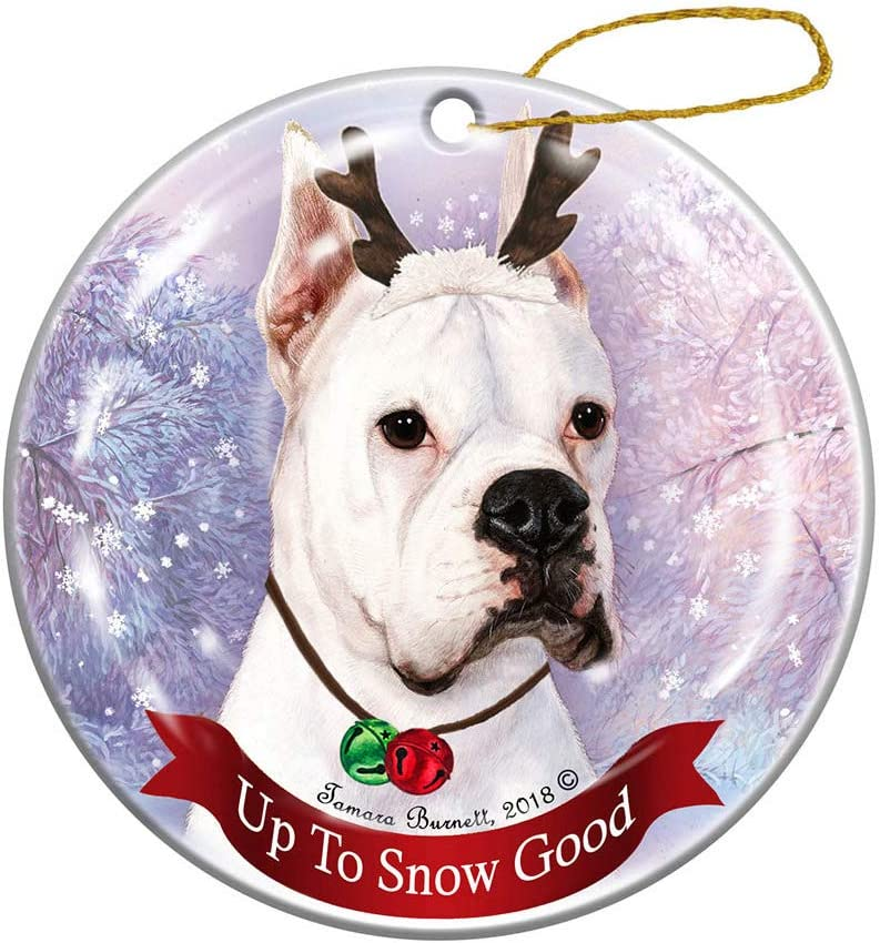 Amazon Com Holiday Pet Gifts Boxer White Cropped Ears Reindeer Dog Porcelain Christmas Ornament Kitchen Dining