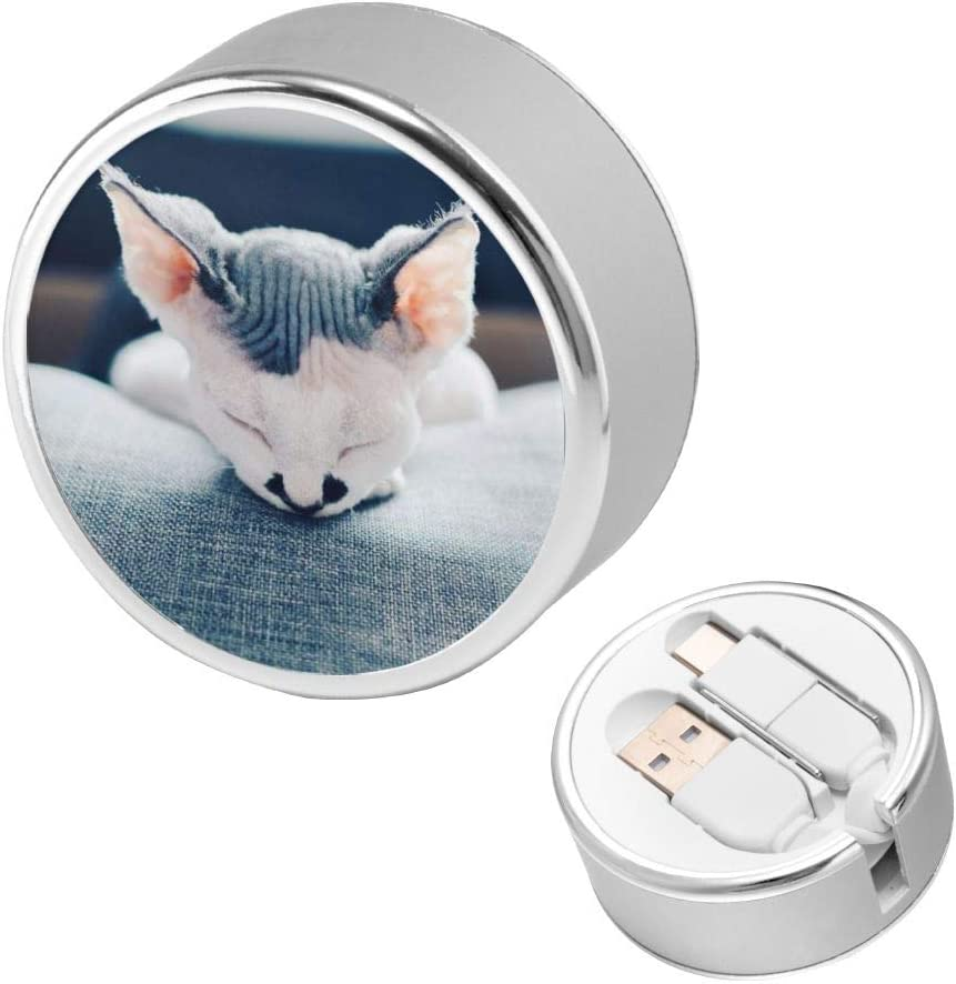 Can Be Charged and Data Transmission Synchronous Fast Charging Cable-Puppy Lying On The Sofa Round USB Data Cable Charging Cable