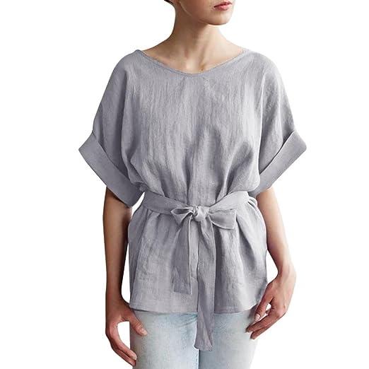 3bc719869 Amazon.com: CUCUHAM Women Casual Kimono V-Neck Cotton Linen Top with Tie  Belt Loose Tunic Blouse: Clothing
