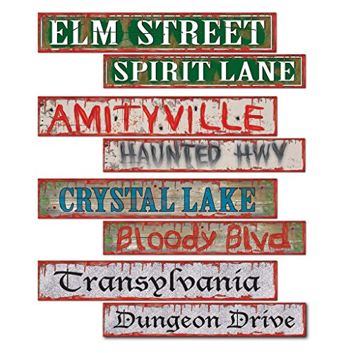 Spooky Halloween Signs (Beistle 4-Pack Halloween Street Sign Cutouts, 4-Inch by 24-Inch)