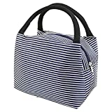 LEFV&Trade; Lunch Bags Solid Useful Linen Cotton Stripe Fashion Tote Bag Grocery Handbag Travel Organizer Box Case Container Sundry Shopping Makeup Bags with Zipper, Deep Blue