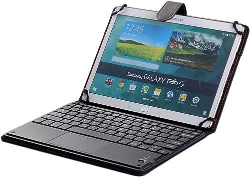 J&H Funda universal de piel para teclado de tableta Huawei MediaPad M3 Lite 10, funda de piel sintética con teclado Bluetooth (TOUCHPAD MOUSE) para ...