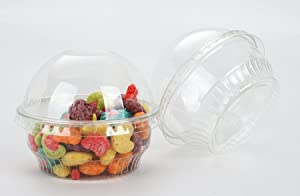 GOLDEN APPLE, 3.5oz-30sets Clear Plastic Cups for Ice Cream, Dessert Cups, Snack Bowl with Dome lids no Hole