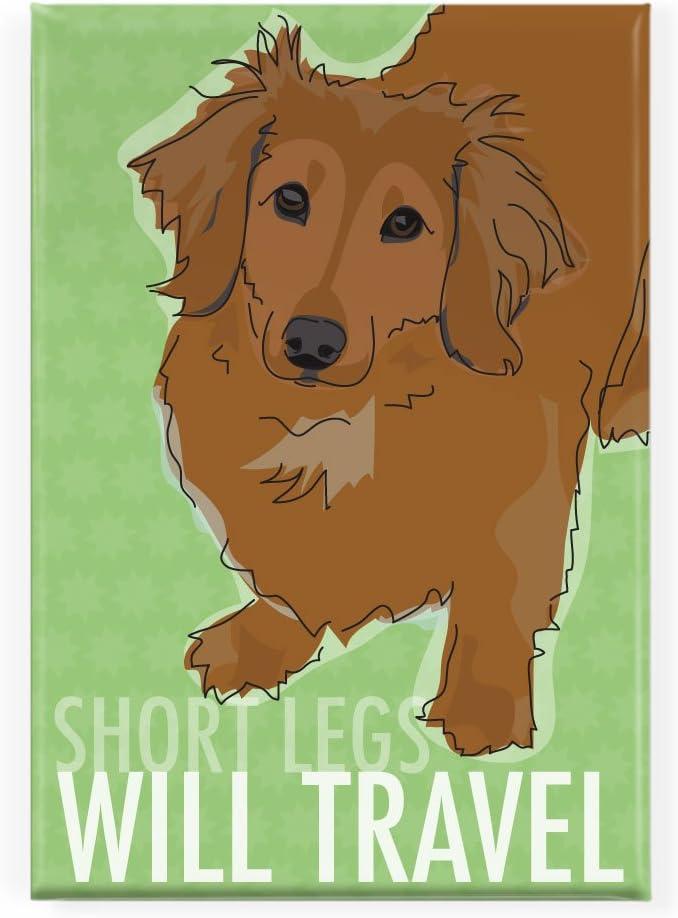 Pop Doggie Short Legs Will Travel Longhaired Red Dachshund Fridge Magnet