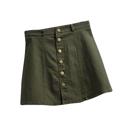 75233c180 Faldas, Challeng Falda de la cintura de la moda de las mujeres falda de  mezclilla de estilo coreano (l, Verde del ejército)