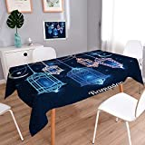 Philiphome Rectangle Polyester Tablecloth Table Cover Ramadan Kareem Islamic Background Lantern for Ramadan Resistant and Waterproof Tablecloths for Dining Room 55''x55''