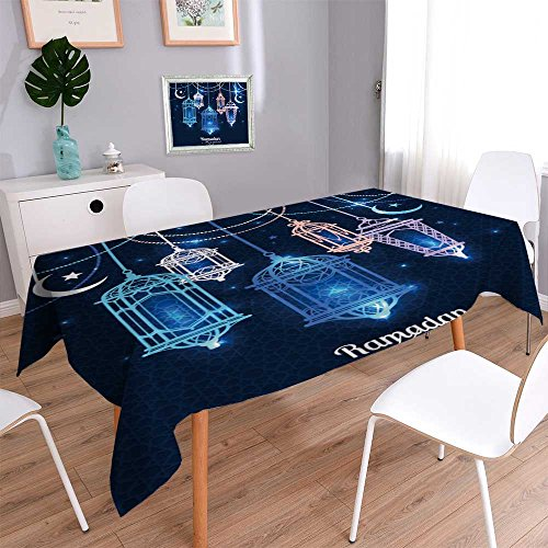 Philiphome Rectangle Polyester Tablecloth Table Cover Ramadan Kareem Islamic Background Lantern for Ramadan Resistant and Waterproof Tablecloths for Dining Room 55''x55'' by Philiphome