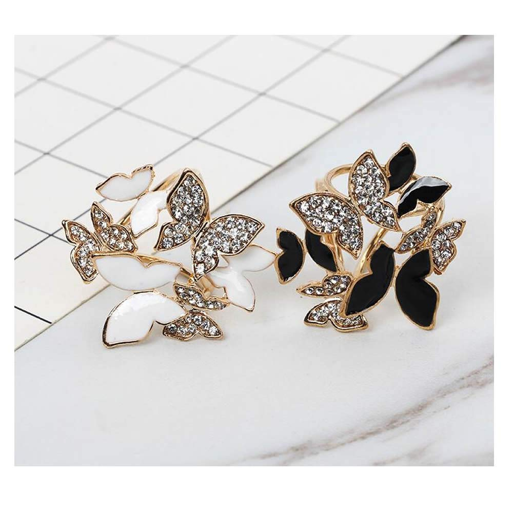RAYNAG Set of 2 Womens Elegant Butterfly Rhinestone Scarf Ring Buckle Clip Jewelry Accessories