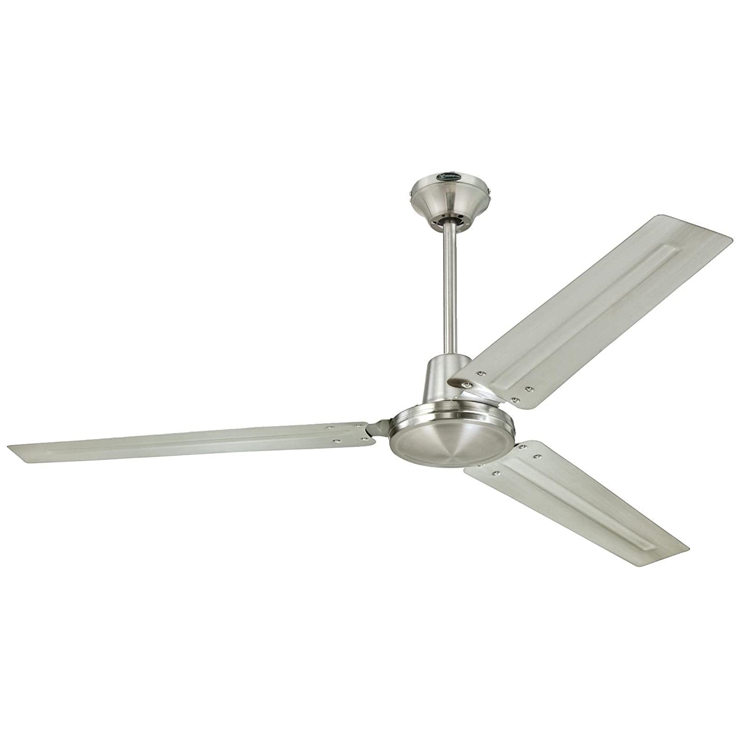 Westinghouse 7861400 Industrial 56-Inch Three-Blade Indoor Ceiling Fan, Brushed Nickel with Brushed Nickel Steel Blades