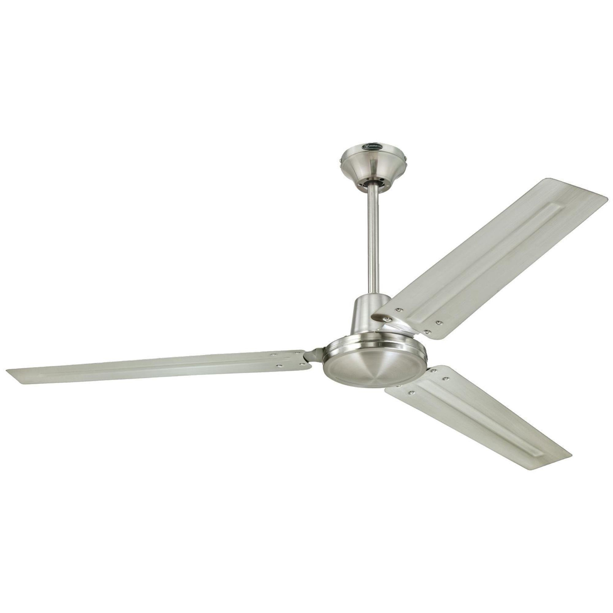 Westinghouse Lighting 7861400 Industrial 56-Inch Three-Blade Indoor Ceiling Fan, Brushed Nickel with Brushed Nickel Steel Blades by Westinghouse Lighting (Image #1)