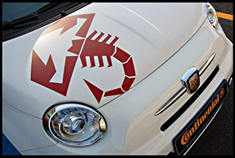 Fiat 500 Abarth Bonnet Decal Skorpion 45cm Red