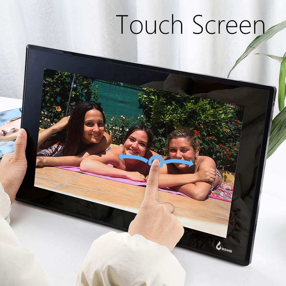 BSIMB 10.1 Inch Wi-Fi Digital Picture Frame Digital Photo Frame 1280x800 IPS Touch Screen Add Photos and Videos from iPhone /& Android App Twitter Facebook Email W01