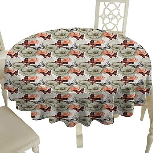 Butterfly Easy Care Leakproof and Durable Tablecloth Poppy Blossoms and Butterflies Wildlife Garden Forest Theme Vintage Style Outdoor Picnic D55.11 Inch Black Orange Khaki
