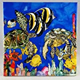 Ceramic Tile Turtle- ''Ocean of Grace'' Artwork by Candace Lee. Made in Hawaii. Comes in 3 sizes 4.25'', 6'' or 8''. Tile can be hung on the wall or used as a trivet.