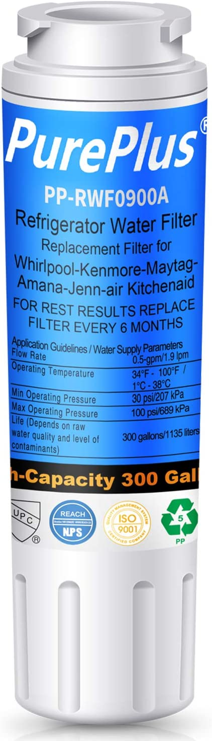 PUREPLUS UKF8001 Refrigerator Water Filter, Replacement for Maytag UKF8001P, EDR4RXD1, Filter 4, PUR 4396395, Puriclean II, UKF8001AXX-200, UKF8001AXX-750, 469006, RWF0900A, RFC 0900A (Pack of 1)
