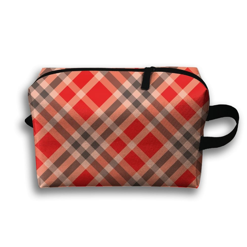 DTW1GjuY Lightweight And Waterproof Multifunction Storage Luggage Bag Red Plaid Patterns