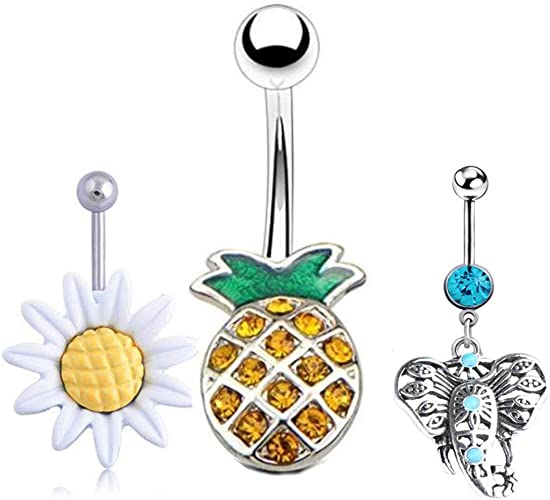 Pineapple Jewelry Dangle Belly Ring Fruit Belly Ring Pineapple Dangle Belly Ring You Choose Barbell Color