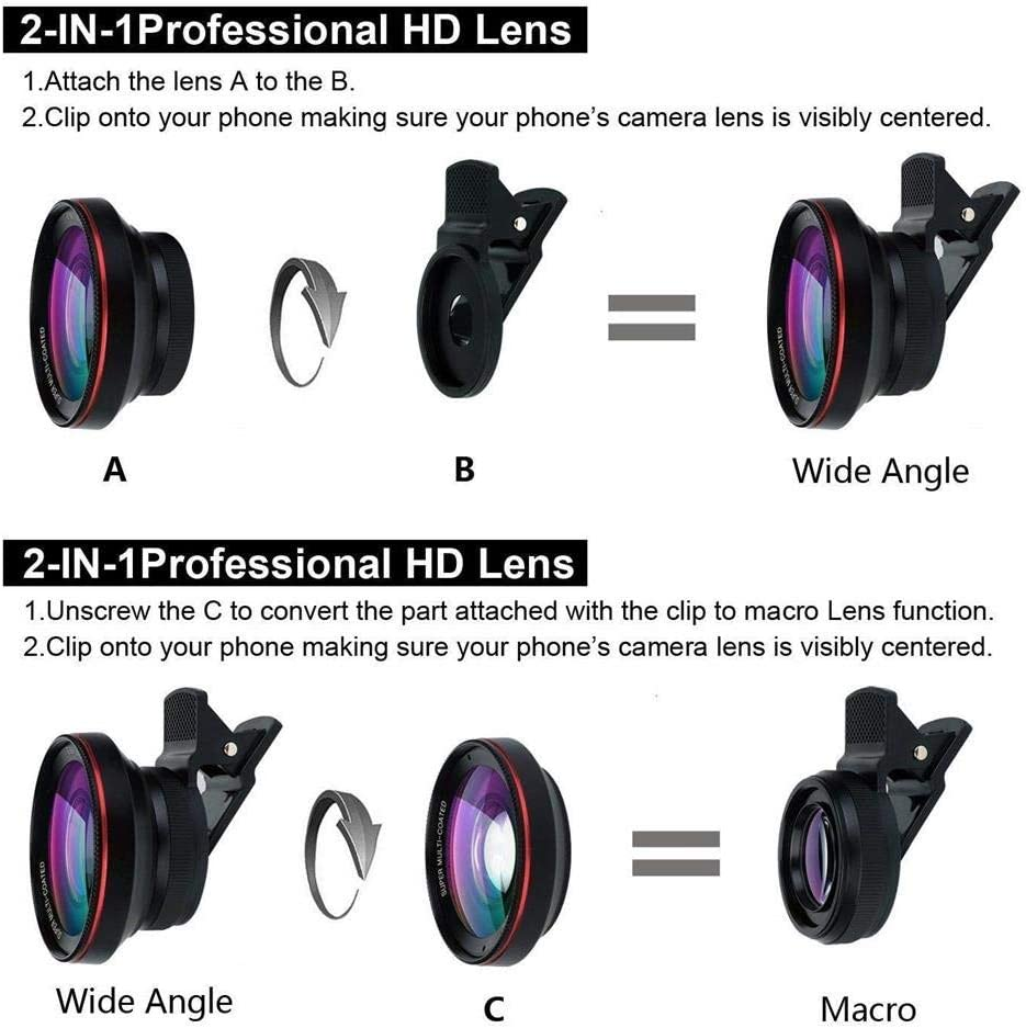 15X Macro Lens Clip On Lens Kit Compatible for iPhone 7//6S//6 Ateboo 0.6X Wide Angle