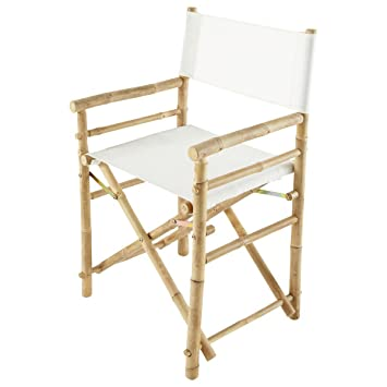 Zew Hand Crafted Foldable Bamboo Directoru0027s Chair With Treated Comfortable  Canvas, Folding Chairs, White