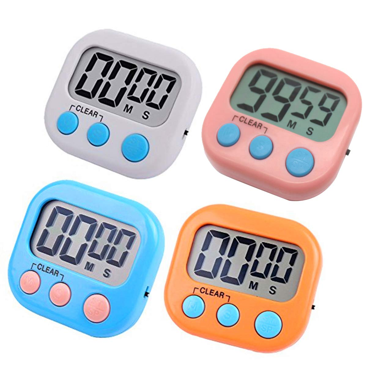 RUNTIM Digital Kitchen Timer, Big Display Screen, Loud Alarm, Strong Magnetic Backing Stand for Cooking Baking Game Gym Kid Timer, Minute Seconds Count Up Countdown and Simple Operation Timers(4 Pack)