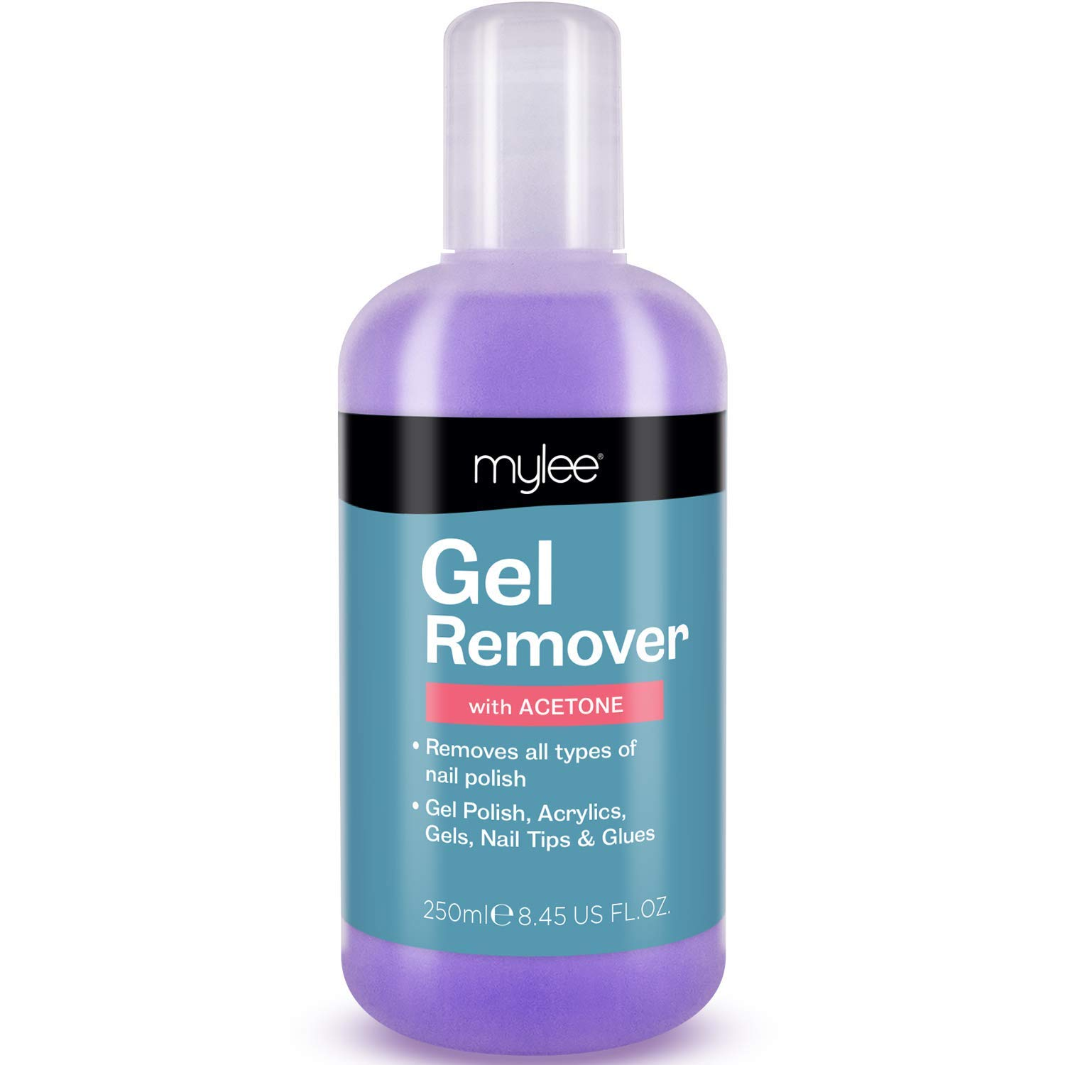 Mylee Gel Polish Remover Acetone 250ml, Salon Professional UV LED Nail Polish Cleaner for Manicures and Pedicures