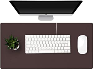 "KINGFOM Desk Pad Office Desktop Protector 35.4"" x 16.9"", PU Leather Desk Mat Blotters Organizer with Comfortable Writing Surface (Dark Brown)"