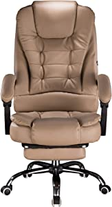 Cosyshow Comfort Genuine Leather High Back Executive Office Desk Chair Ergonomic Adjustable Recliner Computer PC Gaming Chair Footrest Armrest (Khaki-Footrest)