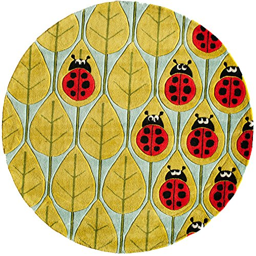 Momeni Rugs LMOJULMJ13LBR500R Lil' Mo Whimsy Collection, Kids Themed Hand Carved & Tufted Area Rug, 5' Round, Lady Bug Red ()