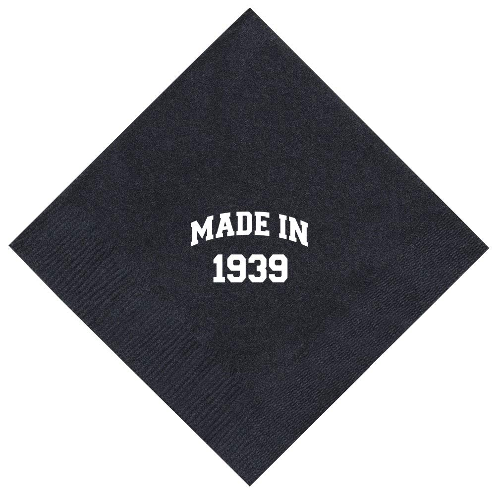 80th Birthday Gifts Made In 1939 80th Party 100 Pack 5x5'' Party Napkins Cocktail Napkins Black by ThisWear