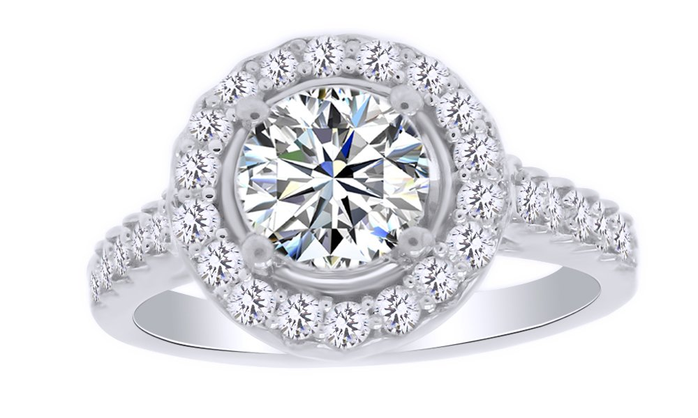 Natural Diamond & White Moissanite Halo Wedding Engagement Ring 14K White Gold Over Sterling Silver (1 Cttw) Ring Size-9