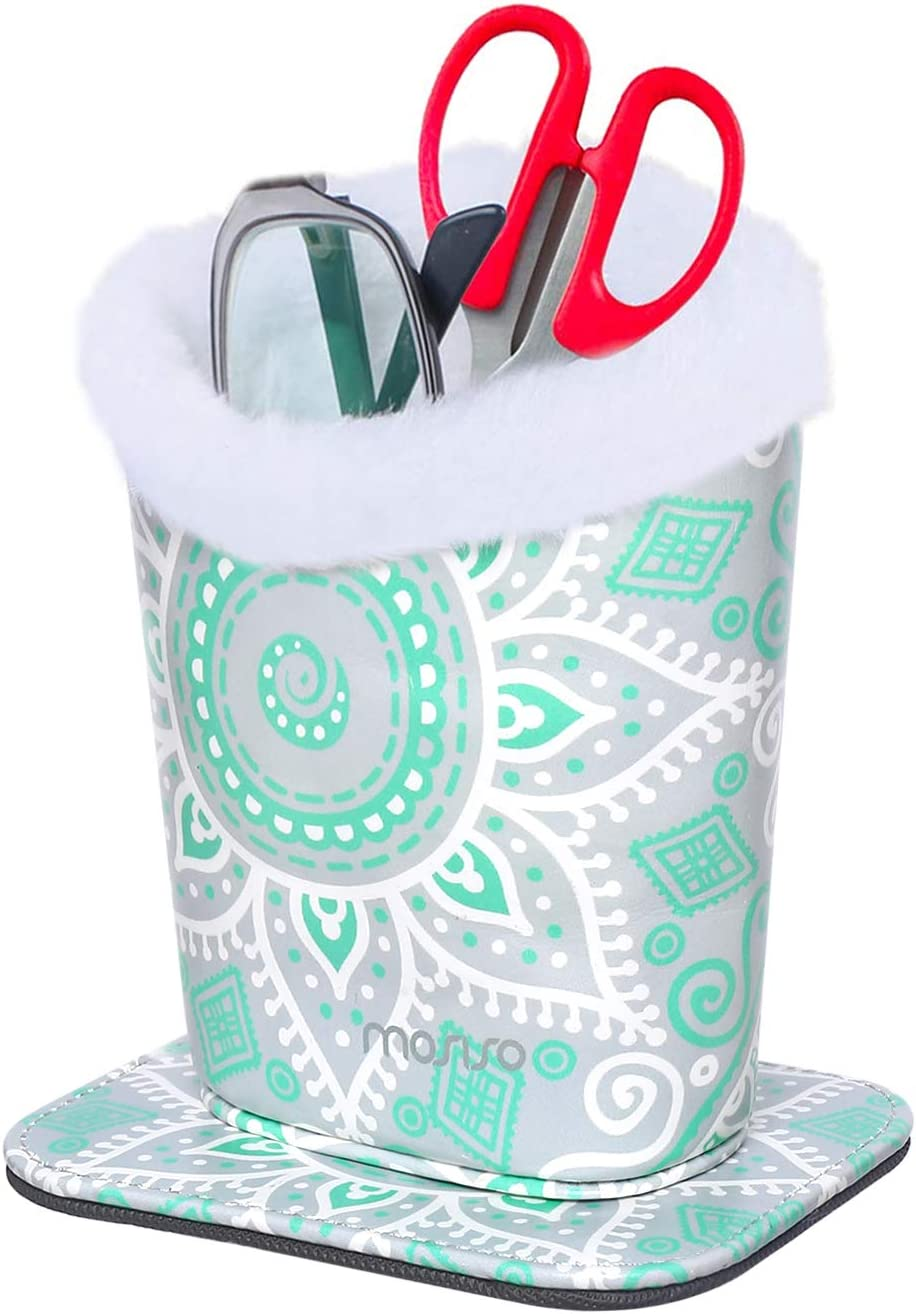 MOSISO Eyeglasses Holder White Marble Plush Lined PU Leather Stand Case with Magnetic Base