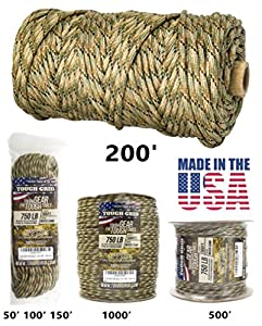 TOUGH-GRID 750lb Mixed Camo Paracord / Parachute Cord - Genuine Mil Spec Type IV 750lb Paracord Used by the US Military (MIl-C-5040-H) - 100% Nylon - Made In The USA. 200Ft. - Mixed Camo