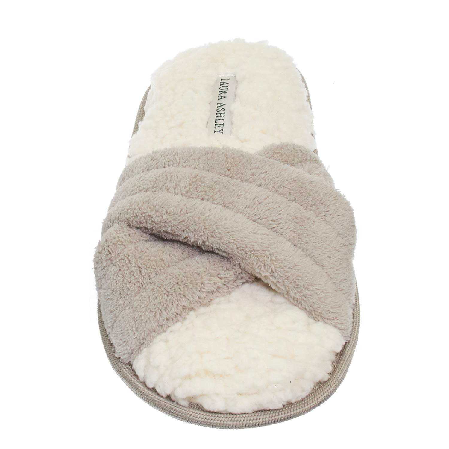 Laura Ashley Womens Ladies Luxury Spa Cross Band Memory Foam Slippers See More Colors and Sizes