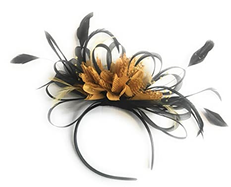 8675b40bb3a01 Image Unavailable. Image not available for. Colour  Black   Mustard Yellow  Fascinator ...