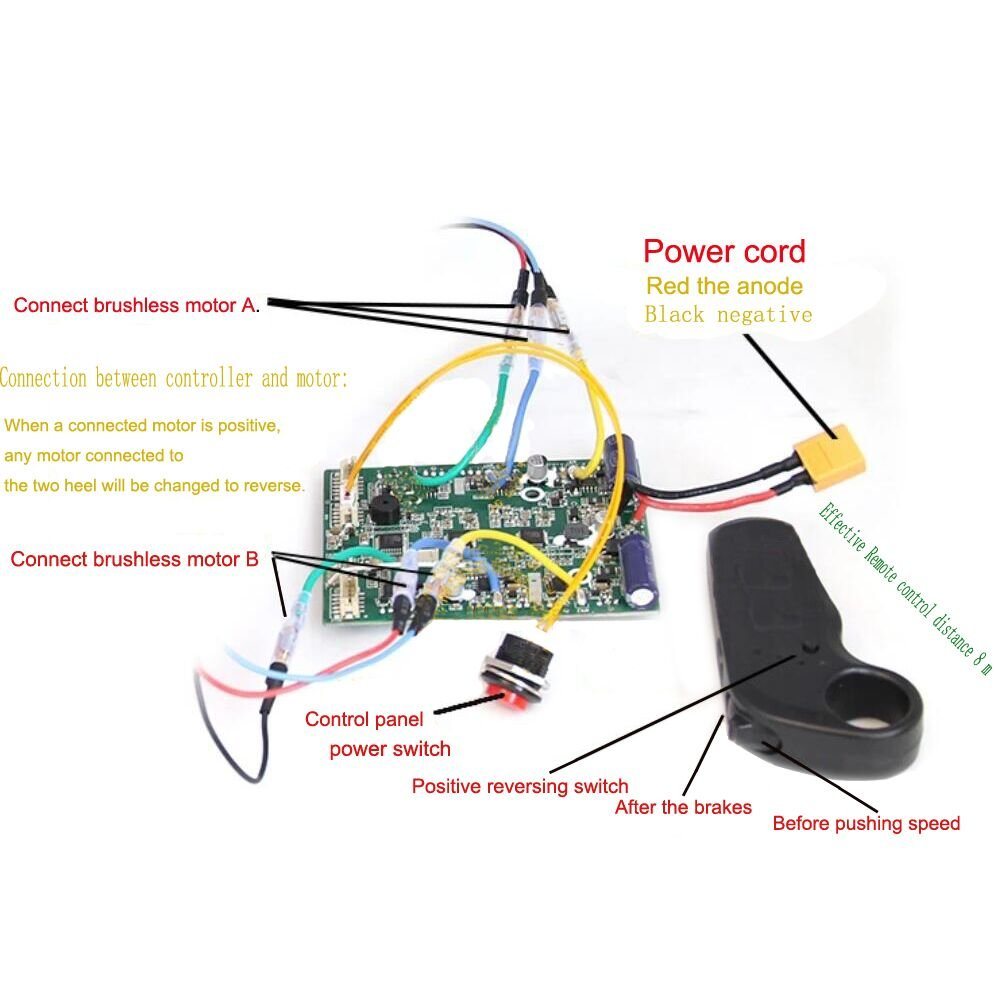 Ting Ao Electric Skateboard Longboard Controller With Remote Dual Motors ESC Substitute