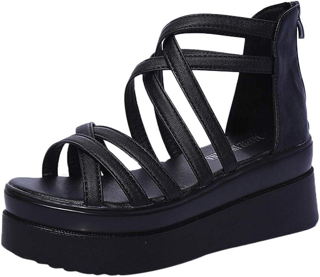 Sandalias de Vestir Tac/ón Altas Plataforma Cu/ña para Mujer Verano Primavera 2019 PAOLIAN Calzado Fiesta Elegantes Tallas Grandes Zapatos Piel sint/ético Blanco Dama Escuela 35-40 EU