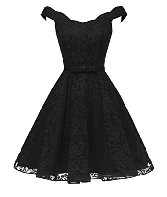 7b970551d051 Short Lace Evening Dress Knee Length Off The Shoulder Prom Dresses Black,2