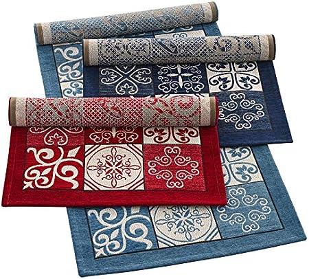 lavable HomeLife Tapis de cuisine anti-taches et antid/érapant moderne avec motif fa/ïence fabriqu/é en Italie 58X80 denim tapis de couloir color/é