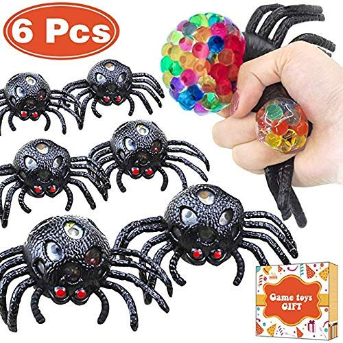 zxyyxz 6 Packs of Halloween Spider Web Stress Ball Toy Squeeze Stress Relief Ball Accessories Wrist Autism ADHD Squeeze Ball Children Adult Back to School Birthday -