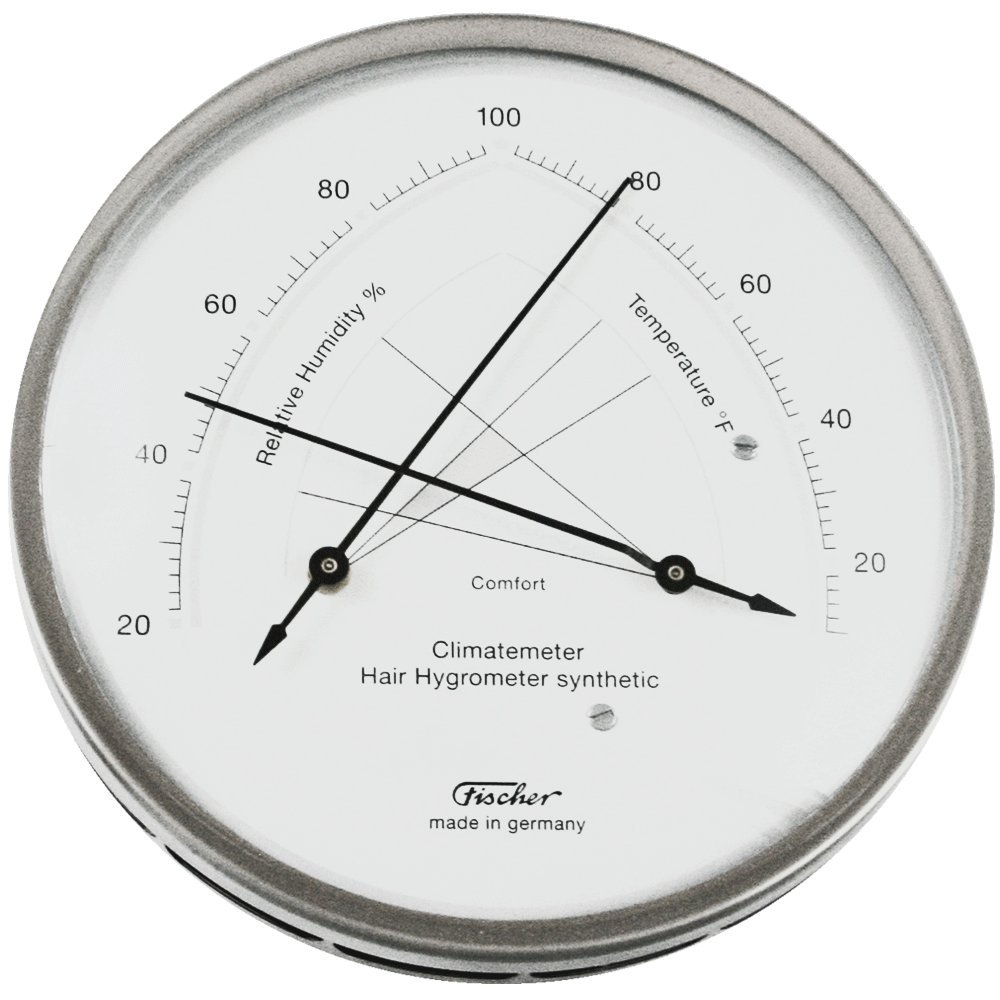 Ambient Weather Fischer Instruments 146-01 Stainless Steel Traditional Temperature and Humidity Comfortmeter with Synthetic Hair Hygrometer