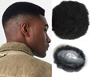 Afro Toupee for Men Human Hair Black African American Wigs Full Lace  8x10inch African Curly Afro 1669817ba